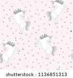 seamless cute unicorn vector...   Shutterstock .eps vector #1136851313