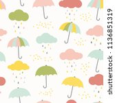 vector kids pattern with clouds ... | Shutterstock .eps vector #1136851319