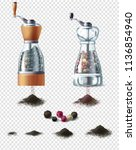 vector set of spice mills with... | Shutterstock .eps vector #1136854940