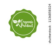green vegan badge. eps10 vector. | Shutterstock .eps vector #1136858324