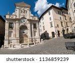 spoleto  city square  church in ...   Shutterstock . vector #1136859239