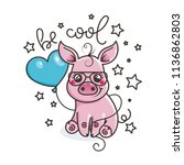cute cartoon baby pig in a cool ... | Shutterstock . vector #1136862803