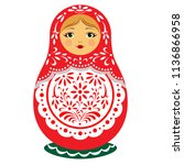 doll souvenir russian toy... | Shutterstock .eps vector #1136866958