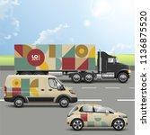 vintage mosaic transport...   Shutterstock .eps vector #1136875520