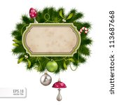 fir tree border with ornaments... | Shutterstock .eps vector #113687668