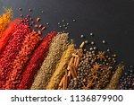 set of flavors on blackboard... | Shutterstock . vector #1136879900