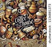 cartoon vector doodles coffee... | Shutterstock .eps vector #1136881373