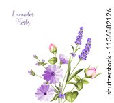 label with lavender. bunch of... | Shutterstock .eps vector #1136882126