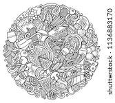 cartoon vector doodles italian...   Shutterstock .eps vector #1136883170