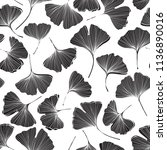 seamless monochrome floral... | Shutterstock .eps vector #1136890016