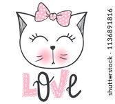 vector cute fashion cat.... | Shutterstock .eps vector #1136891816