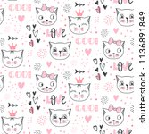 vector fashion cat seamless... | Shutterstock .eps vector #1136891849