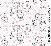 vector fashion cat seamless... | Shutterstock .eps vector #1136891849