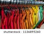 male men s shirts sorted in... | Shutterstock . vector #1136895260