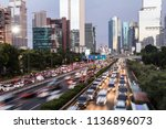 rush hour traffic captured with ... | Shutterstock . vector #1136896073