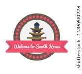 korean welcome sticker in flat... | Shutterstock .eps vector #1136900228