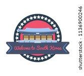 korean welcome sticker in flat...   Shutterstock .eps vector #1136900246