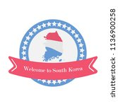 korean welcome sticker in flat... | Shutterstock .eps vector #1136900258