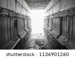 exit from the drainage sewage... | Shutterstock . vector #1136901260