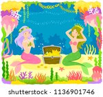 two mermaids playing with a... | Shutterstock . vector #1136901746