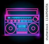 radio neon logo. glow in the... | Shutterstock .eps vector #1136904056