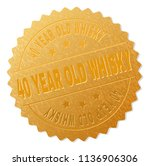 40 year old whisky gold stamp... | Shutterstock .eps vector #1136906306