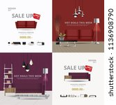 2 banner furniture sale design... | Shutterstock .eps vector #1136908790