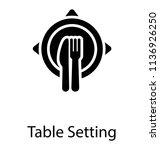 arranged cutlery on a desk... | Shutterstock .eps vector #1136926250