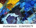 oil paint palette. multicolor...   Shutterstock . vector #1136928179
