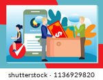 mobile application development... | Shutterstock .eps vector #1136929820