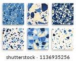 six seamless terrazzo patterns. ... | Shutterstock .eps vector #1136935256