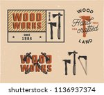 vintage hand drawn woodworks... | Shutterstock .eps vector #1136937374