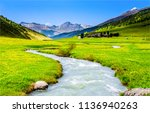 mountain river valley landscape.... | Shutterstock . vector #1136940263
