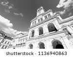 Small photo of Arad, Romania. The City Hall. Black and white vintage style.