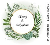 wedding invitation frame  with... | Shutterstock .eps vector #1136946989