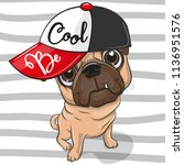 Cute Cartoon Pug Dog With A Re...