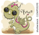 cool cartoon cute dragon with... | Shutterstock .eps vector #1136953193