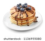 tasty pancakes with chocolate... | Shutterstock . vector #1136955080