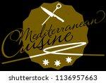golden mediterranean cuisine... | Shutterstock .eps vector #1136957663