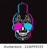 neon punk skull icon with... | Shutterstock .eps vector #1136959253