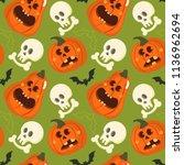 halloween holiday seamless... | Shutterstock .eps vector #1136962694