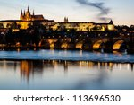 Cityscape of Prague with Castle and Charles Bridge at sunset, Czech Republic - stock photo