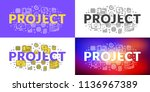 project. flat line illustration ... | Shutterstock .eps vector #1136967389