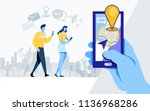 social media. online community. ... | Shutterstock .eps vector #1136968286