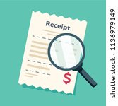receipt icon with magnifying... | Shutterstock .eps vector #1136979149