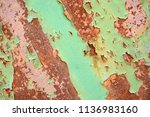 aged copper green grunge wall... | Shutterstock . vector #1136983160