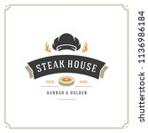 grill restaurant logo vector... | Shutterstock .eps vector #1136986184