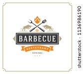 grill restaurant logo vector... | Shutterstock .eps vector #1136986190