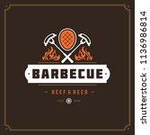 grill restaurant logo vector... | Shutterstock .eps vector #1136986814