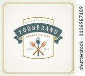 restaurant logo design vector... | Shutterstock .eps vector #1136987189